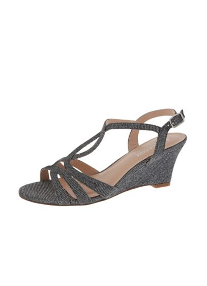 Blossom Grey (Strappy Shimmer Low-Heel Wedges)
