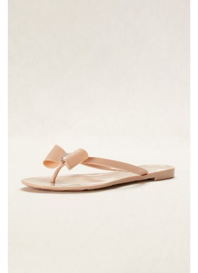 Blossom Beige (Jelly Flip Flop with Bow and Crystal Ornament)