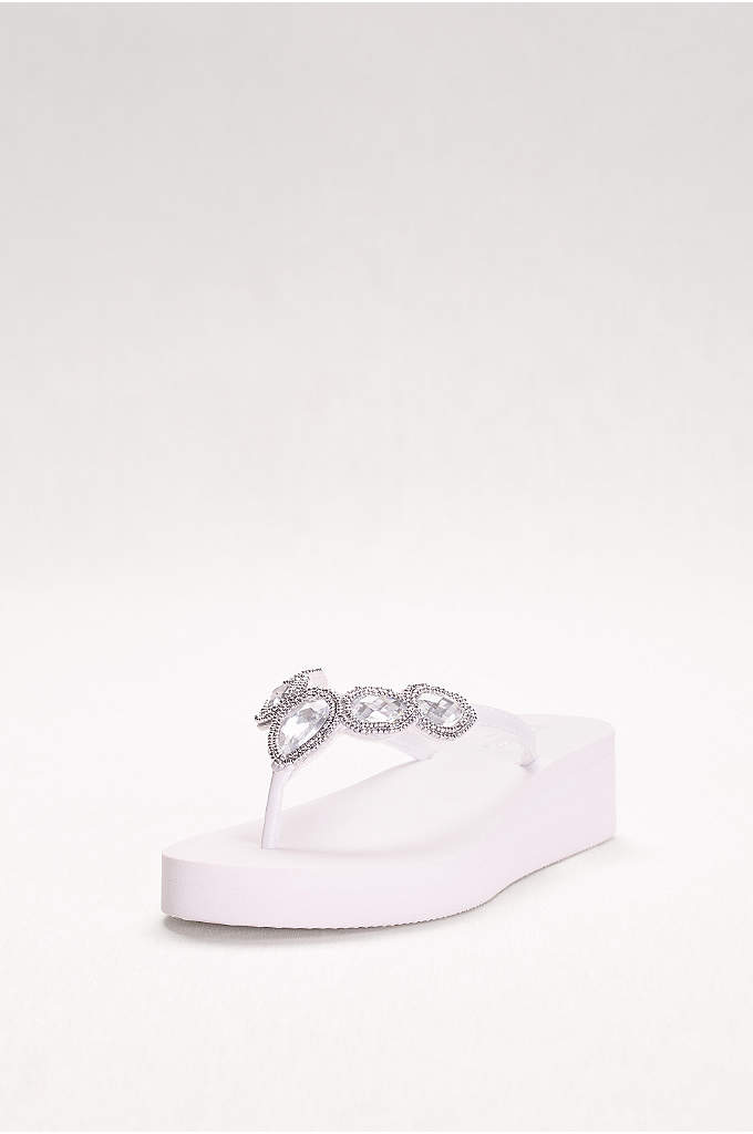 Jeweled Wedge Flip-Flops - Perfect for beach weddings and pool-side brunches, these