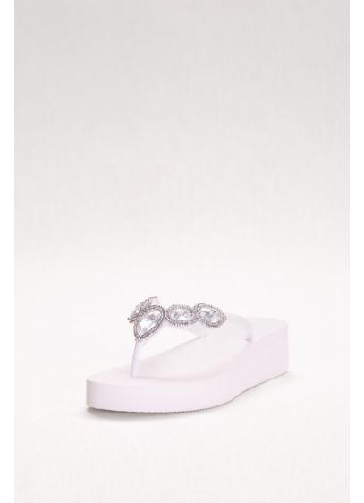 David's Bridal White (Jeweled Wedge Flip-Flops)