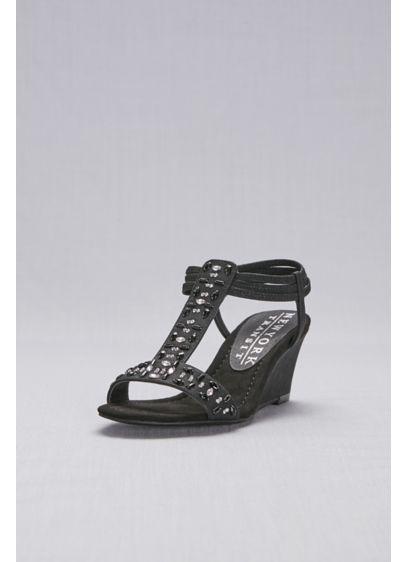 New York Transit Black (Jeweled T-Strap Wedge Sandals)