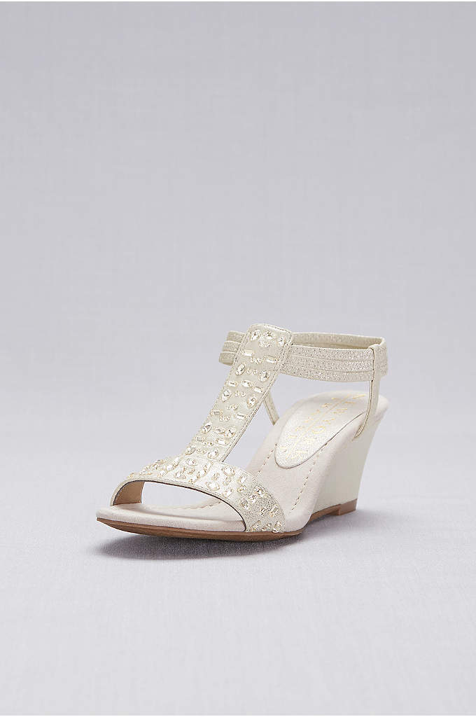 Jeweled T-Strap Wedge Sandals - These dressy wedge sandals feature jeweled straps and