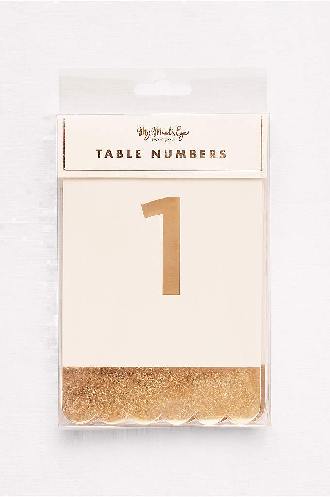 Scalloped Metallic Table Numbers - Tented paper table numbers are embossed with gold