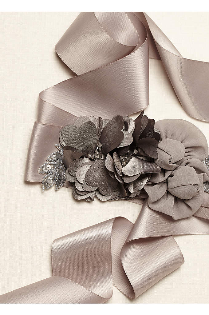 Mix Media Sash with Charmeuse Flower - Add a special touch to any dress with