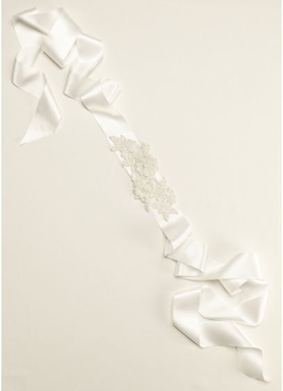Beaded Lace Applique Sash - Wedding Accessories