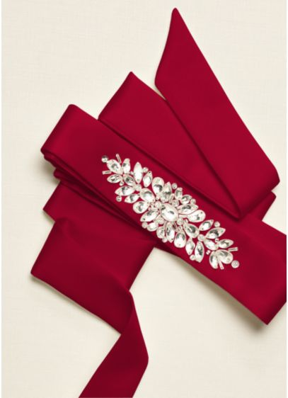 Satin Sash with Beaded Front Detailing - Wedding Accessories