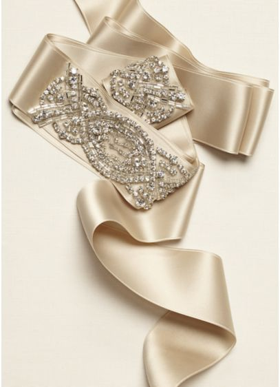 Beaded Front Self Tie Sash - Wedding Accessories