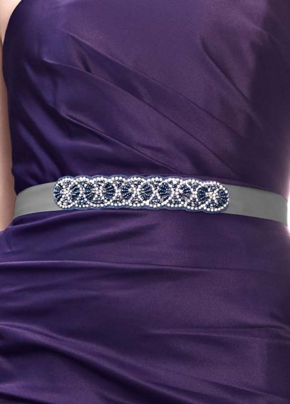 Thin Beaded Satin Sash G21842