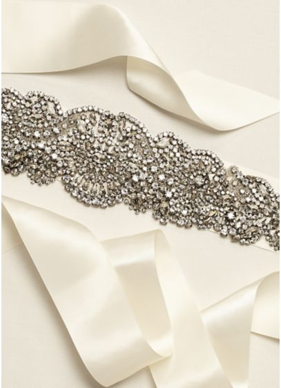 Heavily Embellished Sash with Scroll Detail - Wedding Accessories