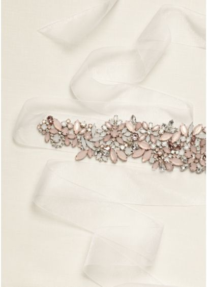 Organza Ribbon Sash with Crystal Detail - Wedding Accessories