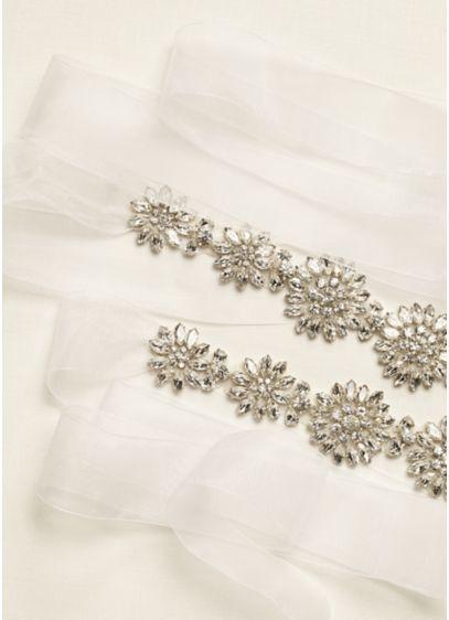 Floral Crystal Beaded Long Organza Sash - Wedding Accessories