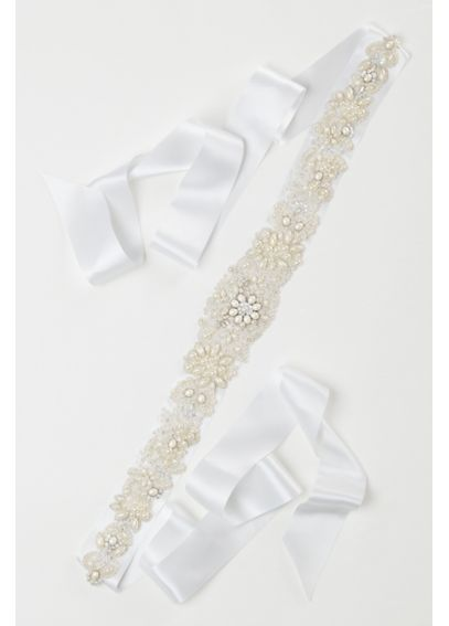 Heavily Beaded Pearl Sash G22302
