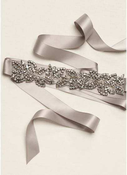 Matte Satin Beaded Leaf Sash - Wedding Accessories