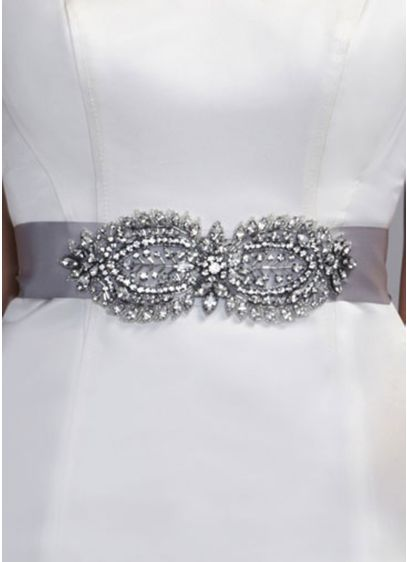 Heavy Beaded Satin Sash - Wedding Accessories