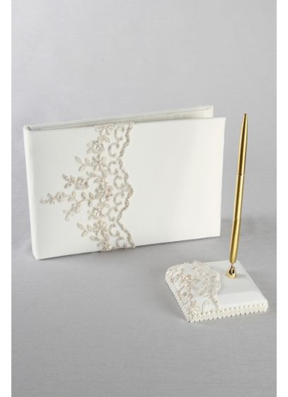 DB Exclusive Beaded Lace Guest Book w/ Pen - Wedding Gifts & Decorations