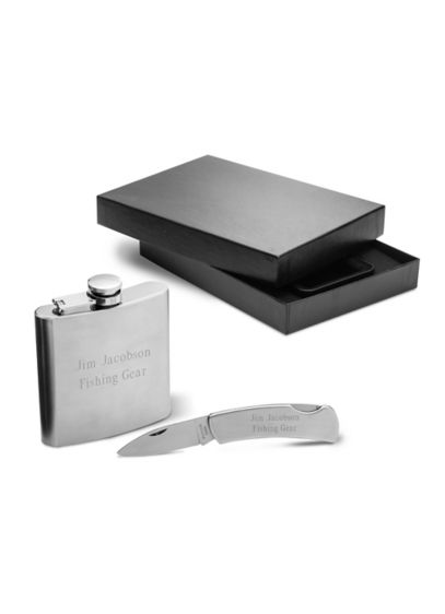 Personalized Stainless Steel Flask & Knife Set - Wedding Gifts & Decorations