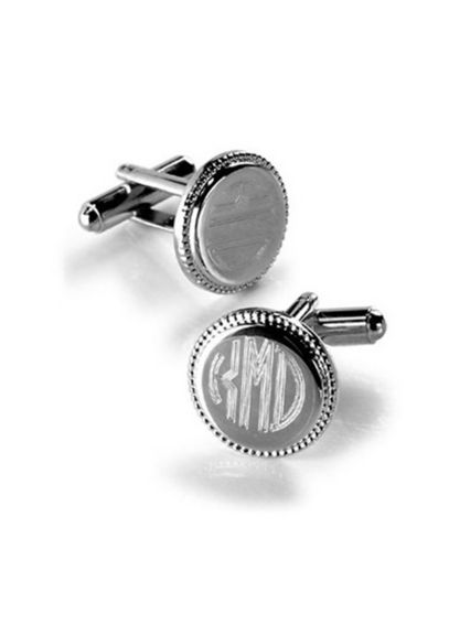 Personalized Round Beaded Cuff Links GC202