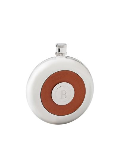 Personalized Oxford Round Leather Flask with Shot - Wedding Gifts & Decorations
