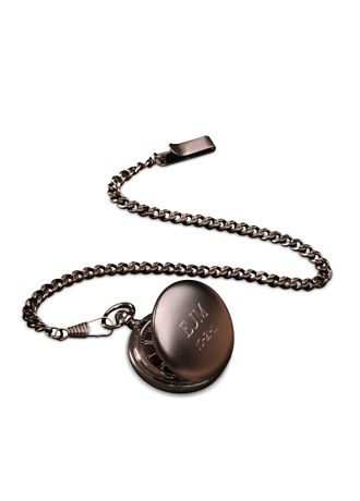 Personalized Gunmetal Pocket Watch - Classic yet contemporary, this personalized classic-style Gunmetal Pocket
