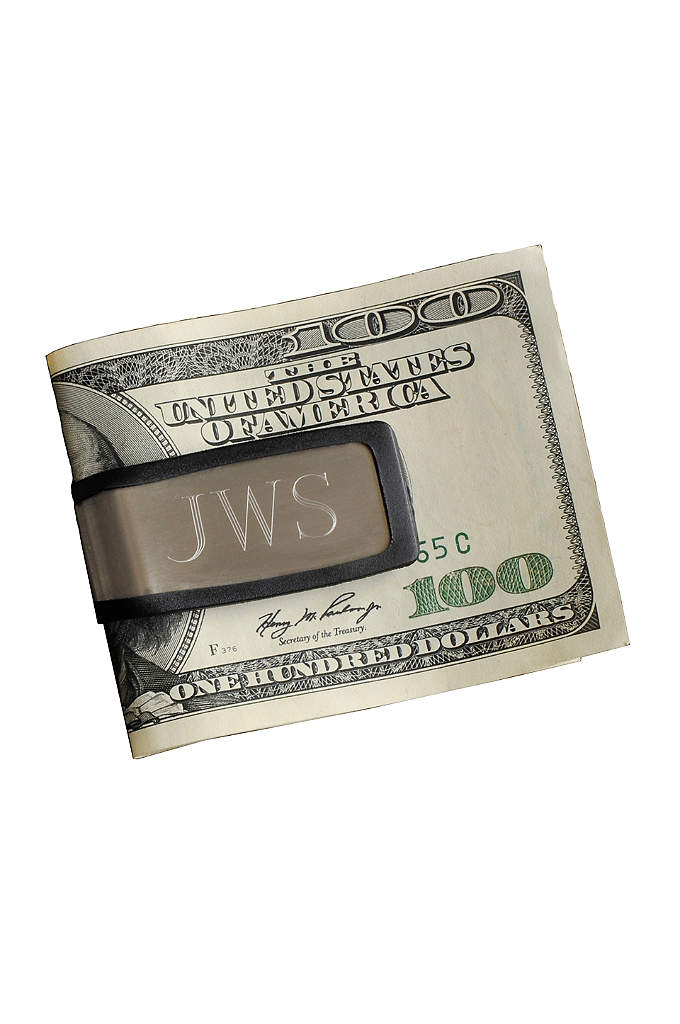 Personalized Sport Fit Money Clip - With sleek brushed stainless and rugged rubber edging,