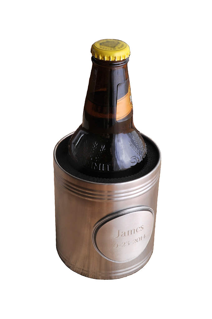Personalized Insulated Can Holder with Medallion - Dress up your cold beverage of choice with