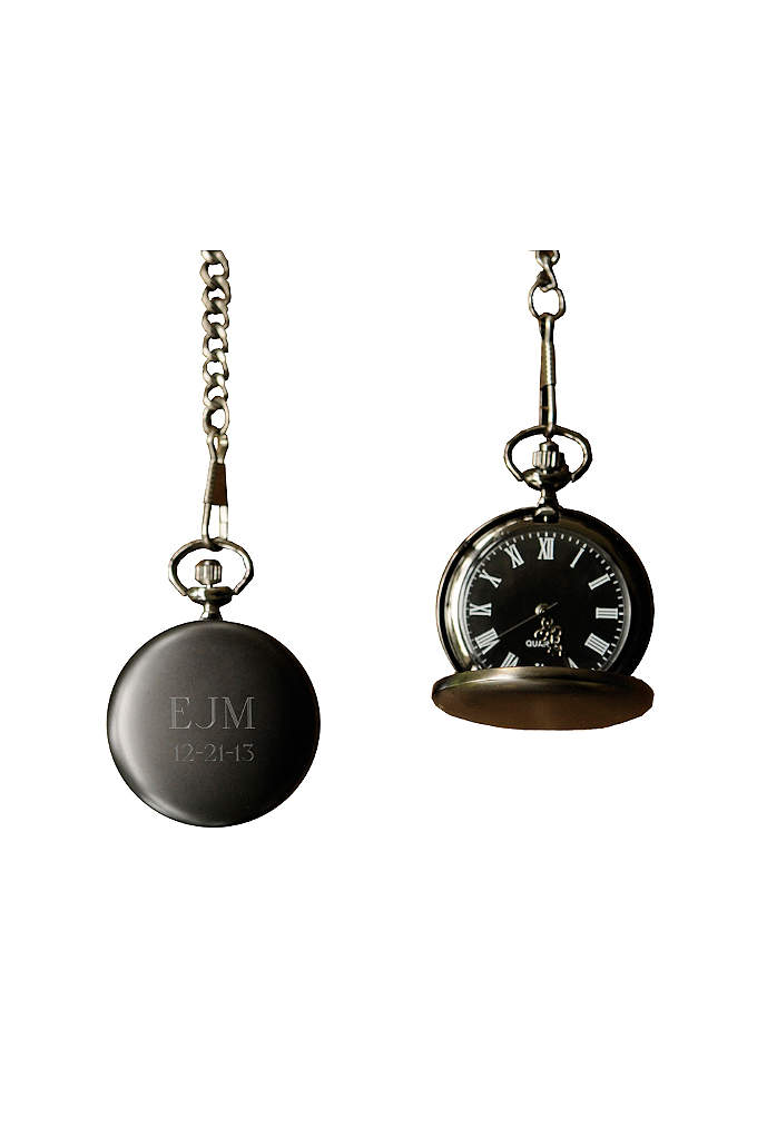 Personalized Midnight Pocket Watch - Handsome and a little bit mysterious, this personalized
