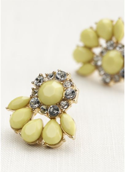 Pave Cluster Earrings - Wedding Accessories