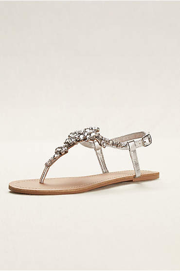 Jeweled T Strap Sandal