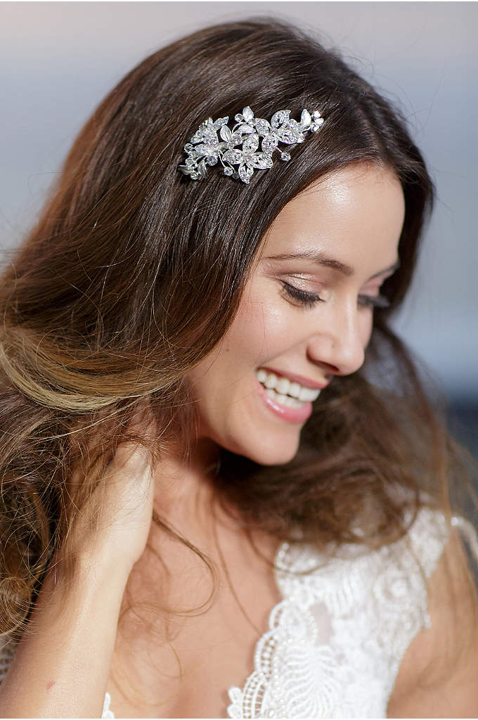 Hand-Wired Crystal Blossom Barrette - A delicate spray of sparkling Swarovski crystal blossoms