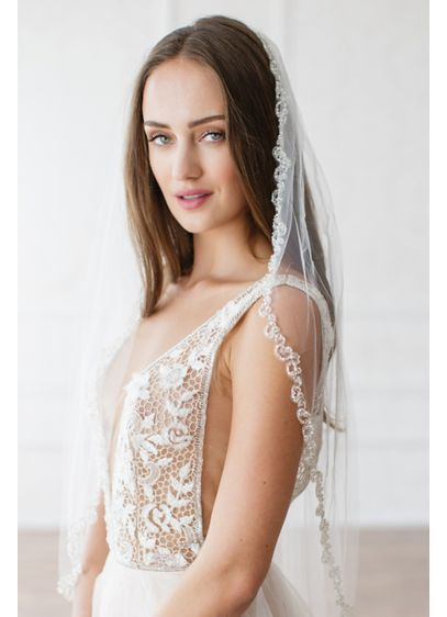 Crystal and Bead Tulle Veil with Comb - Wedding Accessories