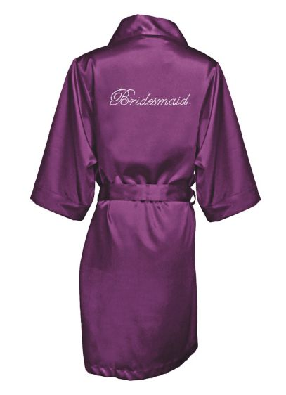 Rhinestone Bridesmaid Satin Robe - Wedding Gifts & Decorations