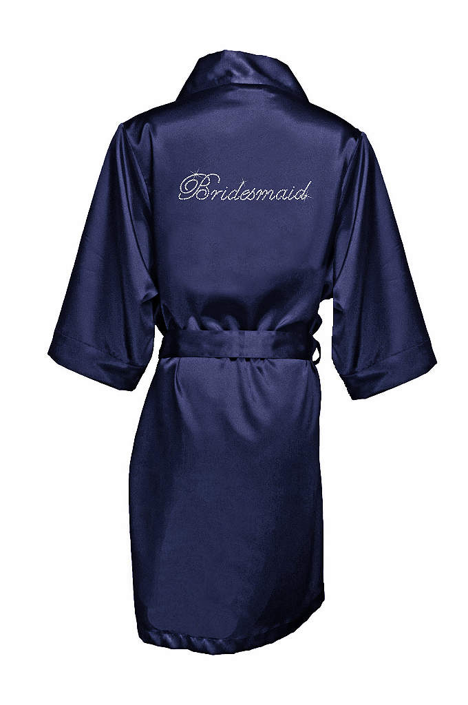 Rhinestone Bridesmaid Satin Robe - This luxurious blush satin robe is designed with