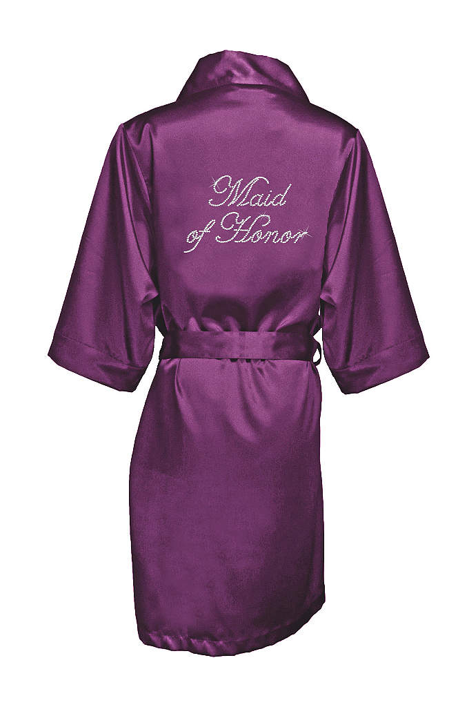 Rhinestone Maid of Honor Satin Robe - This luxurious eggplant satin robe is designed with