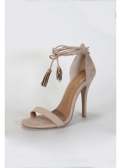 Anne Michelle Beige (Ankle-Tie Heels with Tassels)