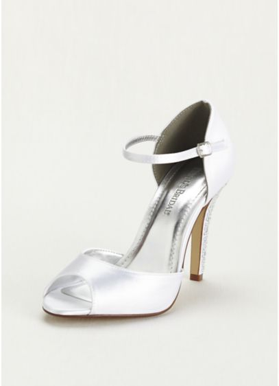 David's Bridal White (Dyeable Sandal with Crystal Embellished Heel)