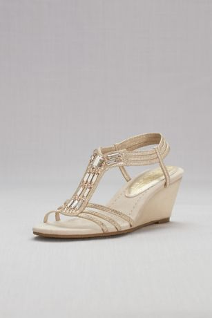 Metallic Wedge Sandals with Jeweled T-Straps | David's Bridal | Tuggl
