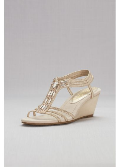 Metallic Wedge Sandal with Jeweled T-Strap GIVEMORE