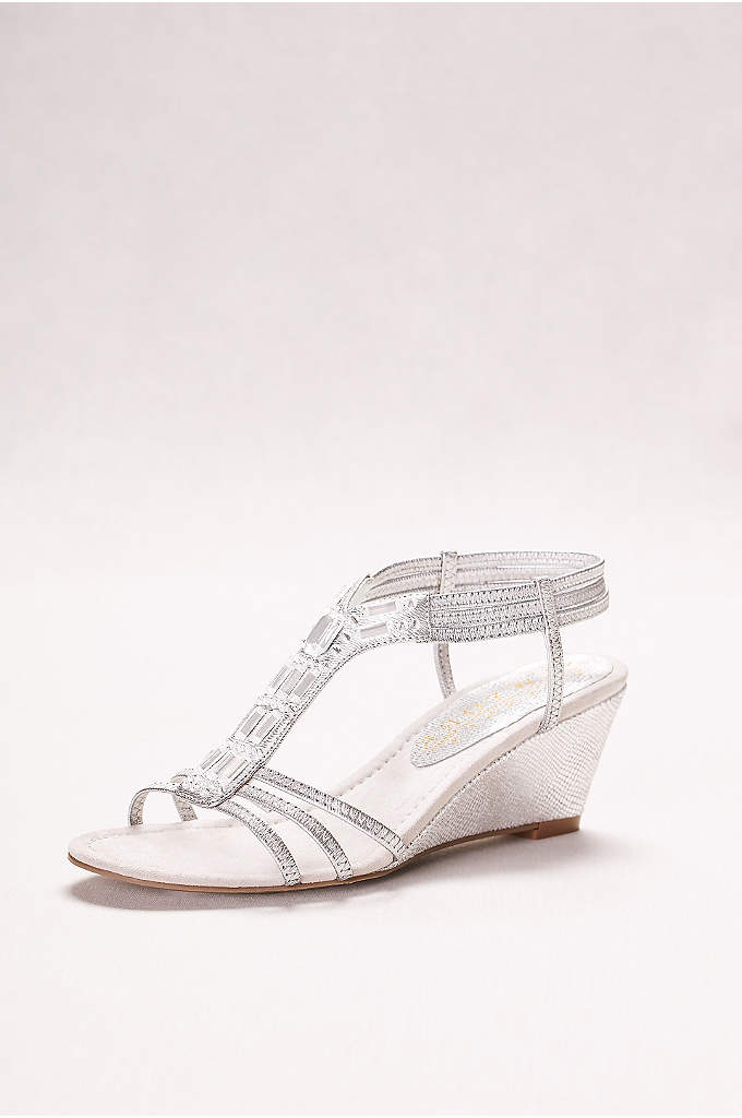 Metallic Wedge Sandal with Jeweled T-Strap - Metallic wedge sandal with jeweled t-strap and elastic