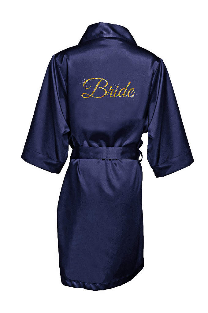 Glitter Print Bride Satin Robe - Celebrate your status as the bride in luxury