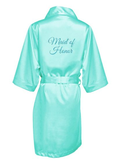 Glitter Print Maid of Honor Satin Robe - Wedding Gifts & Decorations