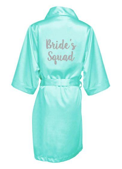 Glitter Print Bride's Squad Satin Robe - Wedding Gifts & Decorations