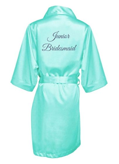 Glitter Print Junior Bridesmaid Satin Robe - Wedding Gifts & Decorations