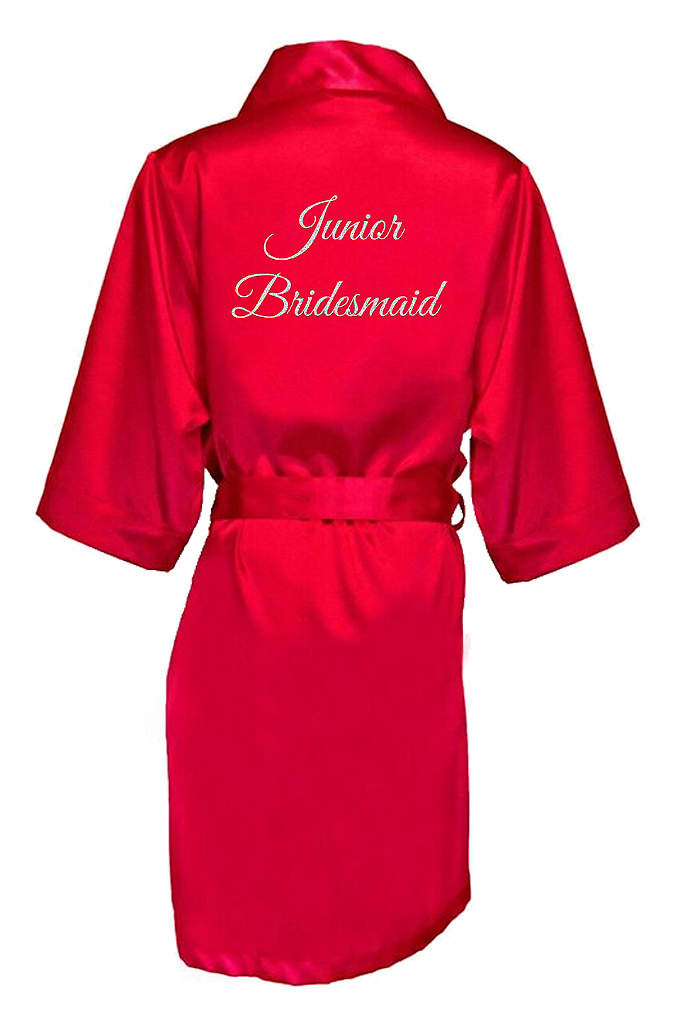 Glitter Print Junior Bridesmaid Satin Robe - Wrap your Junior Bridesmaid in luxury with this