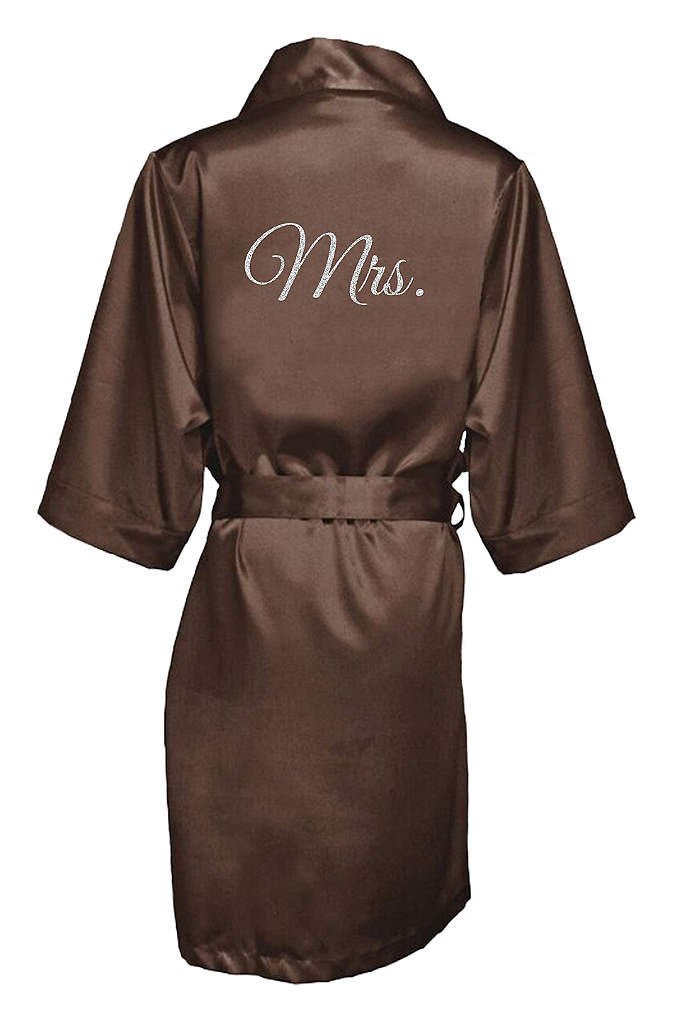 Glitter Print Mrs. Satin Robe - The new Mrs. will be wrapped in luxury