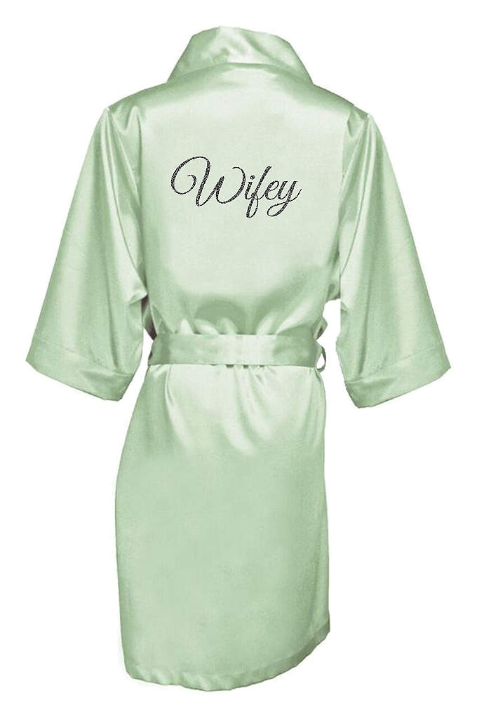 Glitter Print Wifey Satin Robe - The new Wifey will be wrapped in luxury