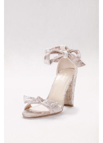Qupid Ivory (Crushed Velvet Ankle-Tie Heels)