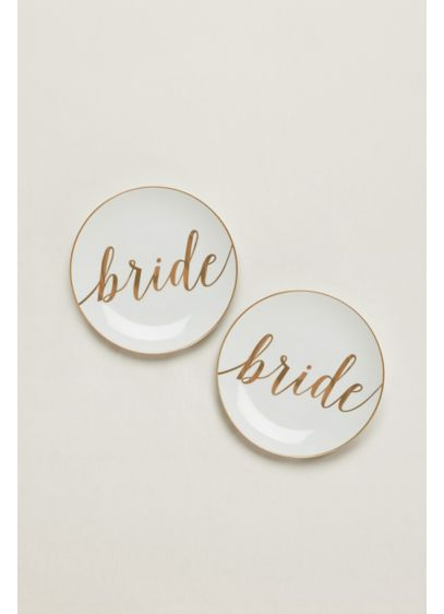 Yellow (Bride and Bride Dessert Plates Set of 2)