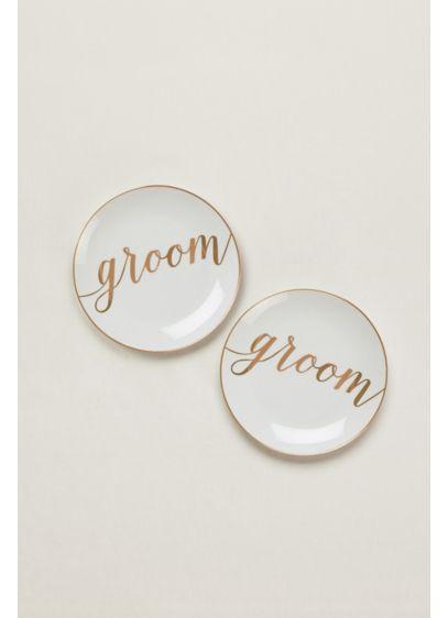 Yellow (Groom and Groom Dessert Plates Set of 2)