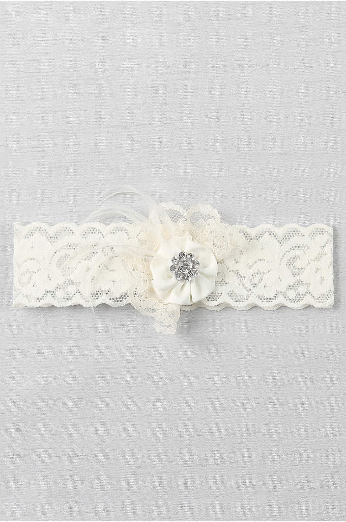 Ruffle and Rhinestone Cluster Lace Vintage Garter - Feathers, a beautiful rhinestone brooch, lace, and a