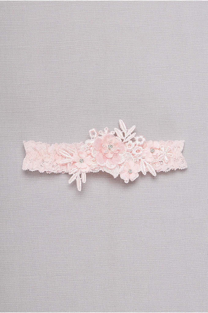 Venise Lace Applique Garter - A touch of blush makes this dimensional floral